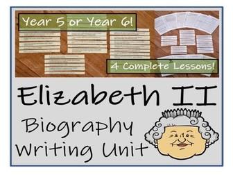 UKS2 Literacy - Queen Elizabeth II Biography Writing Unit