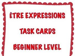 GCSE FRENCH: French Être Expressions Task Cards - Beginner Level - Cartes à Tâches