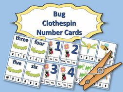 Bug Clothespin Task Card Number Activity