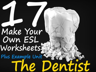 """17 Blank Photocopiable Templates ESL Resource Pack + Example Called """"The Dentist"""""""
