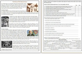 The History Of The Olympic Games - Reading Comprehension Worksheet / Text