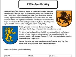 middle ages medieval coat of arms heraldry worksheet by hannerilou