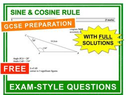 GCSE 9-1 Exam Question Practice (Sine and Cosine Rule)