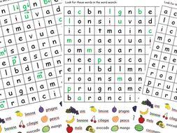 ITALIAN fruit wordsearxh - differnetiated