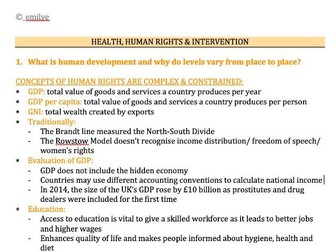 Health, Human Rights & Intervention - Edexcel Geography A-Level 9GEO
