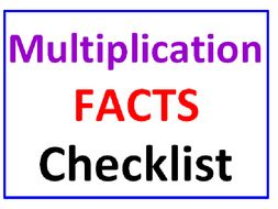 Multiplication Facts Checklist 120 FACTS!