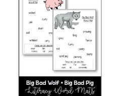 Word Mats - Descriptive Writing - The Big Bad Wolf - The Big Bad Pig - Three Little Pigs