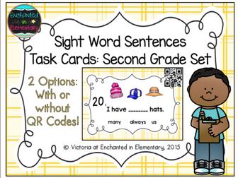 Sight Word Sentences Task Cards: Second Grade Set