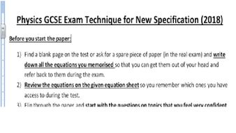 Physics GCSE Exam Technique for New Specification (2018)