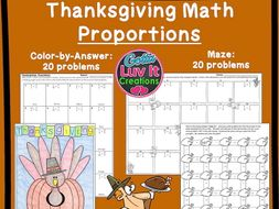 Thanksgiving Turkey Math Proportions Maze Color By Number Bundle
