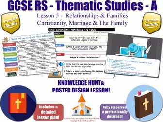 Christian Views About Marriage & Families  [GCSE RS - Relationships & Families - L5/10] Theme A