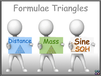 Using Formula triangles for Trigonometry, Distance Speed Time, Mass Density Volume L2 GCSE