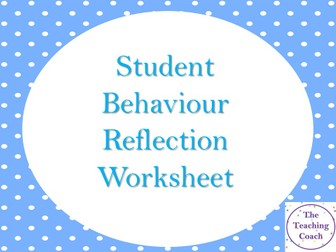 Behaviour Reflection Task Worksheet