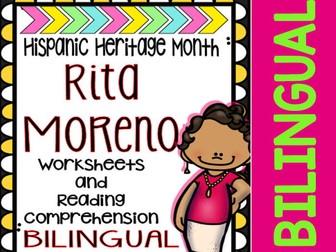 Hispanic Heritage Month - Rita Moreno - Worksheets and Readings (Bilingual)