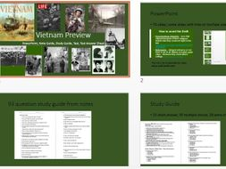 Vietnam Unit - powerpoint, note guide, study guide, and Test
