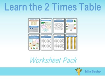 2 Times Table Worksheet Pack
