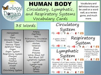 Human Body Word Wall Vocabulary Cards Part 1: Basic, Circulatory, and Respiratory