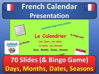 French Calendar Presentation (Days, Months, Dates)