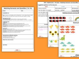 FREE EYFS Maths Number - Matching Numerals and Quantities 1 to 10 Resources & Observation Pack
