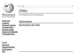 Character Study Wikipedia Page Template