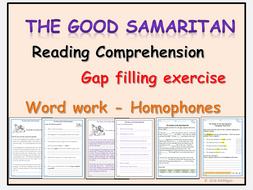 the good samaritan worksheets reading comprehension gap filling cloze activity homophones