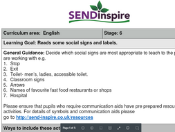 English SEND Reading social signs and labels