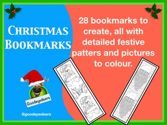 Christmas Bookmarks to Colour