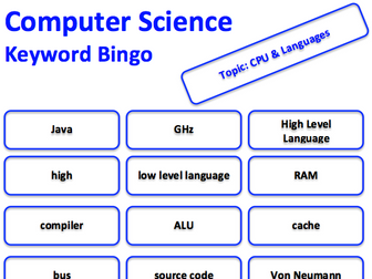 Computer Science keyword bingo game (CPU & Programming Languages)
