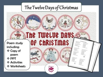 The Twelve Days of Christmas Poem: PPT,  Worksheets and Activities