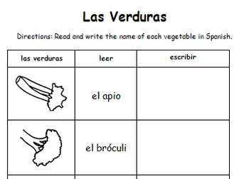 Vegetables - Las Verduras