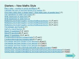 WJEC Maths GCSE Foundation and Intermediate Starter Questions