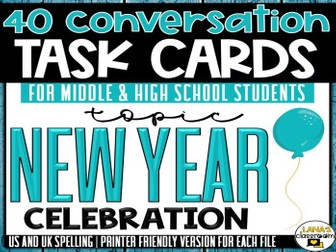 Conversation Starter Cards | New Year's | Social Skills for Middle&High