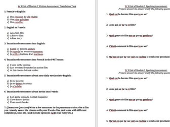 Speaking , Writing, Grammar Assessment - Year 9 - Expo 3 Module 1