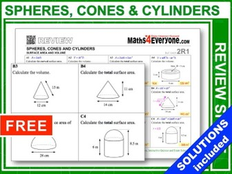 Spheres, Cones & Cylinders (GCSE Topic Review)