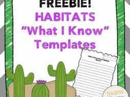 Habitat What I Know Templates FREEBIE!