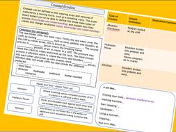 AQA 9-1 GCSE Coastal Erosion Worksheet