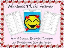 Valentine's Day maths area activity