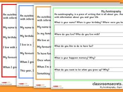 Autobiography Writing Prompt For Reception And Year 1