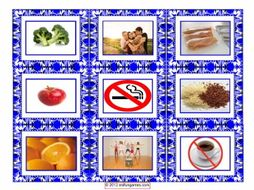 Healthy Lifestyle & Nutrition Cards 4 Pages = 36 Cards