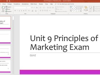 Unit 9 Principles of Marketing Learning Aim A, B and C Quiz REVISION WHOLE LESSON