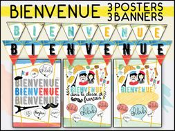 FRENCH BIENVENUE CLASSROOM DECOR SET - 3 POSTERS 3 BANNERS / PRINTABLE DISPLAY
