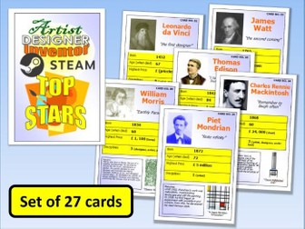STEM STEAM Top Stars Card Game set of 27 Scientists Designers etc End of Term Activity