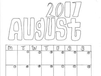 August Calendar Organiser and Colouring Sheet