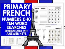 PRIMARY FRENCH NUMBERS 0-10 WORD SEARCHES