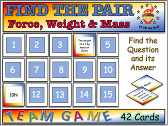 Force, Weight and Mass Find the Pair Game KS3