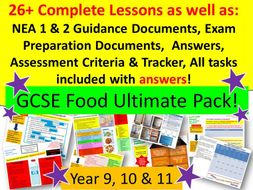 Year 9, 10, 11 Food - NEA 1 & 2, 26 Complete Lessons, Tracker & Printable