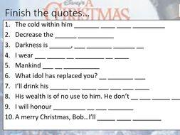 A Christmas Carol Revision Lesson