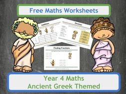 Free Ancient Greek Themed Maths Worksheets for Year 4 Classes