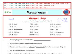 Bill Nye** Measurement A Differentiated Worksheet, Answer Sheet, and ...