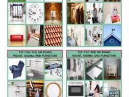 Houses, Rooms and Furniture Tic-Tac-Toe or Bingo